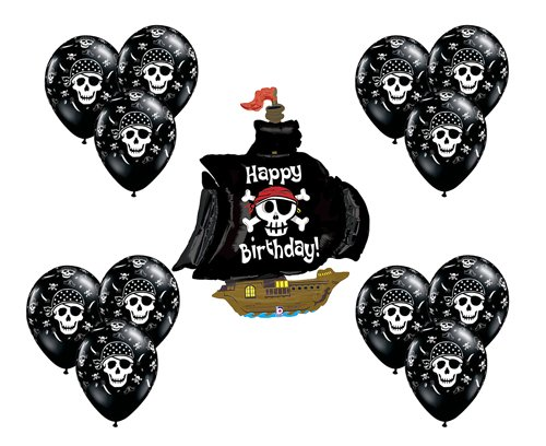 Black Pirate Ship Boat Mate Happy Birthday Party Supply Mylar Balloon Latex Set -