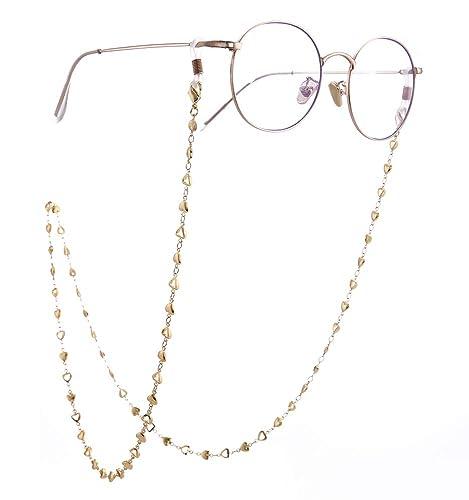 3ca2508086b9 cooltime Silver Rose Gold Gold Heart Eyeglass Chain Men Women Eyewear  Accessories (Gold