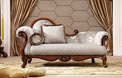Hand Carved Chaise (Ma Xiaoying Chaise Longue Sofa Chair,Solid Wood frame,European Classic style,Carved by hand.Grey.)