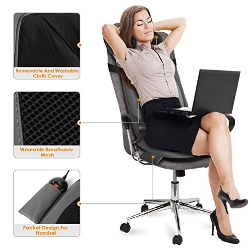 INTEY Shiatsu Massage Chair Pad Back Massage Chair with Heat / Vibrating Functions for Home Office Car by INTEY (Image #3)