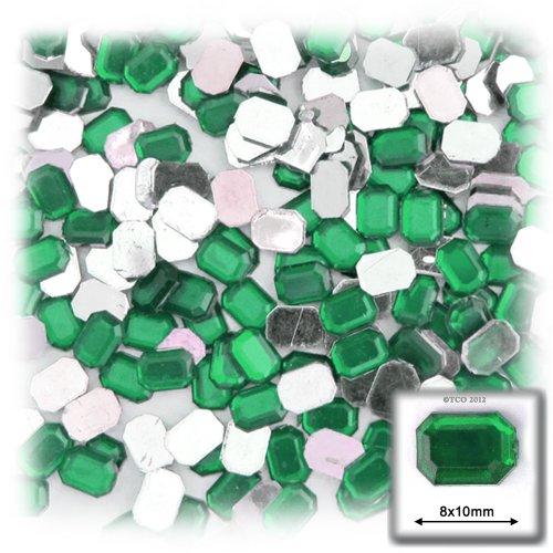 長方形の八角形クラフトアウトレット144アクリルアルミ箔フラットバックラインストーン、8by 10mm、エメラルドグリーンの商品画像