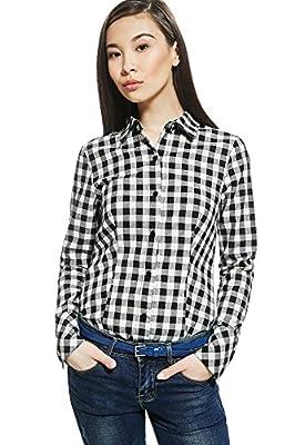 Ester Bodysuit Shirt Blouse Top Plaid Checkered Check Long Sleeve Button Up