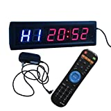Ledgital Sport Timer Gym Fitness Interval Timer 34X10cm Mult-ifunctional Crossfit Clock for Home Gym w/Remote Control
