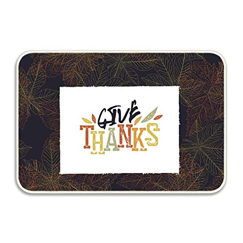(Niaocpwy Give Thanks Postcard Happy Thanksgiving Greeting Non-Slip Doormat Floor Door Mat Indoor Outdoor Bathroom )