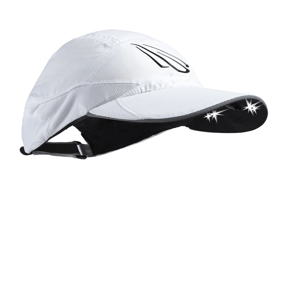 POWERCAP LED Women's Running Hat 25/75 Ultra-Bright Hands Free Lighted Battery Powered Headlamp – White 7 Panel (CUB4-1002)