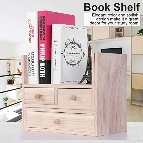 TNPSHOP Wooden Desktop Bookcase Book Shelf Organizer with Drawer Home Office Storage (Bookcase Tv Lcd)