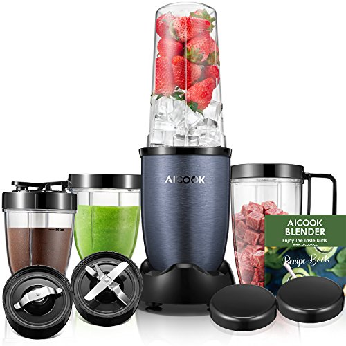 Handled Loving Cup - Aicook Smoothie Blender, Personal Blender Single Serve, 15-Piece High Speed Blender for Smoothies and Shakes, Portable Blender BPA Free Tritan Cups 780W, Grey