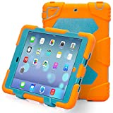 iPad Mini 4 Case, Aceguarder Kickstand Case with Built-in Screen Protector,[Extreme Heavy Duty][Shockproof][Drop Absorption][Kids proof] Case for iPad Mini 4 (2015) (Orange Blue, iPad Mini 4)