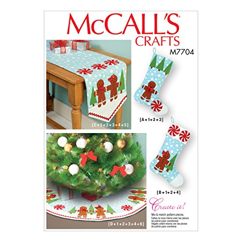 McCall Patterns M7704OSZ Stockings, Runner, and Tree Skirt Holiday Decorations