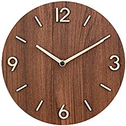 Decorative Rustic Analog Silent Wall Clock Battery Operated Modern Round Wall Clock Simple for Home, Office, Bedroom, 9, Brown