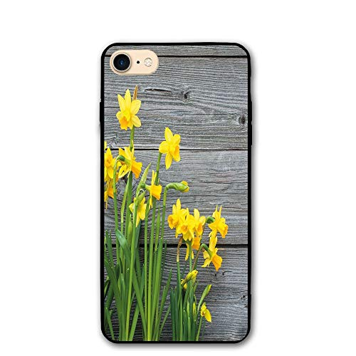 Haixia IPhone 7/8 Shell 4.7 Inch Yellow Flower Bouquet Of Daffodils On Wood Planks Gardening Rustic Country Life Theme Decorative Yellow Grey