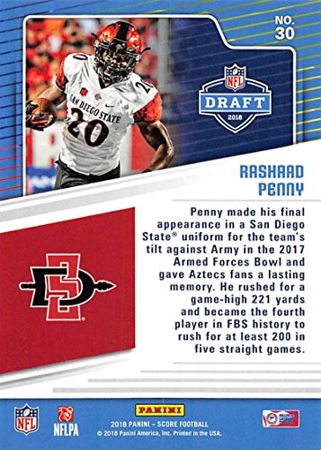 timeless design 19490 05642 Amazon.com: 2018 Score NFL Draft #30 Rashaad Penny San Diego ...