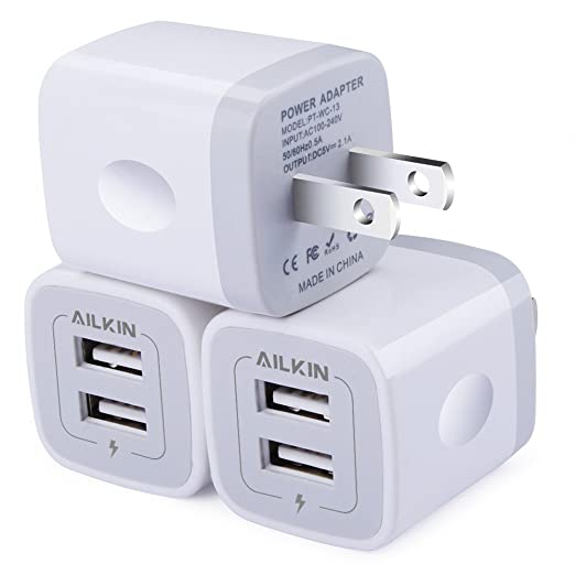 Wall Charger, [3-Pack] 5V/2.1AMP Ailkin 2-Port USB Wall Charger Home Travel Plug Power Adapter Replacement for iPhone X/8/7/7 Plus, 6s/6s Plus, Samsung Galaxy S7 S6, HTC, LG, Table, Motorola and More