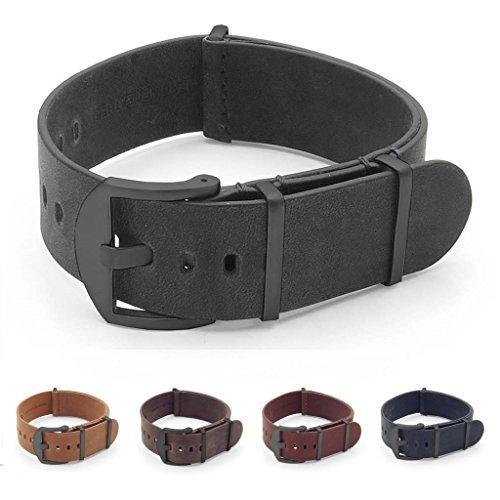 - DASSARI Veteran Italian Leather NATO Strap Watch Band w/Matte Black Hardware