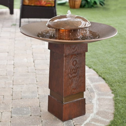 Portland Sound Garden Water Outdoor Bird Bath Fountain Crafted From Durable Molded Resin in Copper Finish 27W x 27D x 30H inches by Kenroy Home