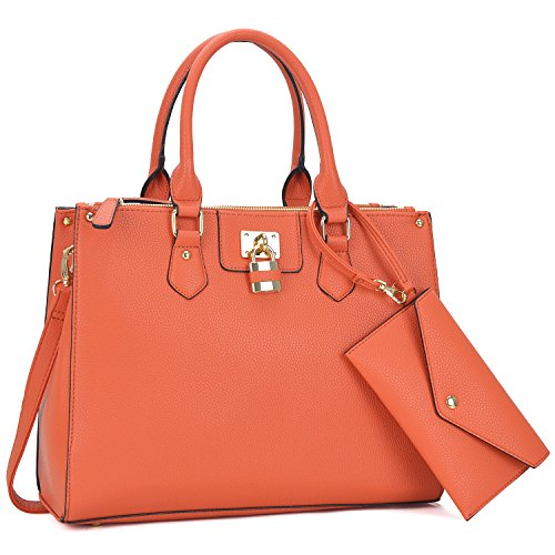 Dasein 2pcs Women Shoulder Purses Top handle Handbags Satchel Bags Work Tote Bags with Wallet (6486-Coral)