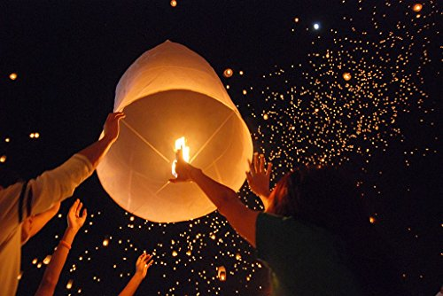 Price comparison product image Tenozek (50pcs) Chinese Sky Kongming Lanterns Fire Fly Candle Lamp For Wish Party Wedding (US stock) (White)