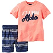 Carter's Baby Boys' 2 Pc Playwear Sets 229g135, Coral, 3 Months