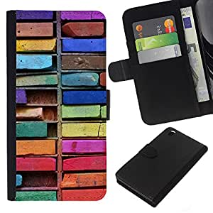 KingStore / Leather Etui en cuir / HTC DESIRE 816 / Colorful Art Dibujo Sucias;