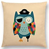 The Beach Stop Children's Cartoon Animal Cushion Covers (Pirate Owl)