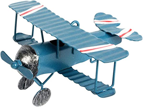 Vintage Blue Tin Metal Biplane Airplane Model Decor Toy Collectible Gift