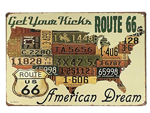 UNIQUELOVER USA Route 66 Get Your Kicks American Dream Retro Vintage Tin Sign 12