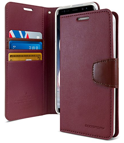 Galaxy Note 8 Case, [Drop Protection] GOOSPERY Sonata Diary [Wallet Case] Premium PU Leather Case w/TPU Casing [ID Credit Card Slots] Flip Stand Cover for Samsung Galaxy Note 8 (Wine) NT8-SON-WNE