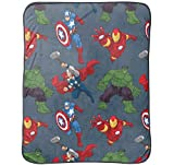Marvel Avengers 40'' x 50'' Silk Touch Comfy Throw with Iron Man, Thor, Hulk and Captain America