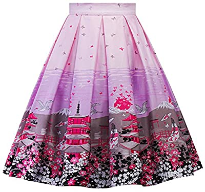 Women Vintage High Waist Pleated A Line Flared Midi Skirt F 07