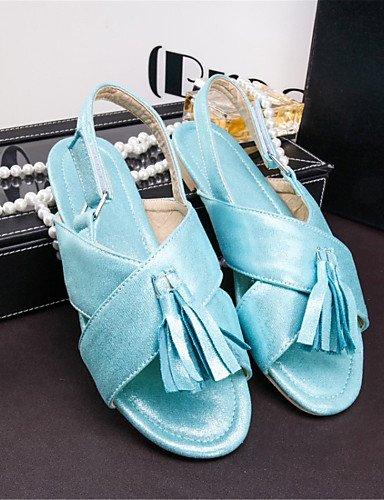 LFNLYX Zapatos de mujer-Tacón Plano-Comfort-Sandalias-Boda / Vestido / Casual-Materiales Personalizados-Azul / Rojo / Plata / Oro Blue
