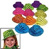 Fun Express Neon Animal Print Gangster Hats (1 Dozen)