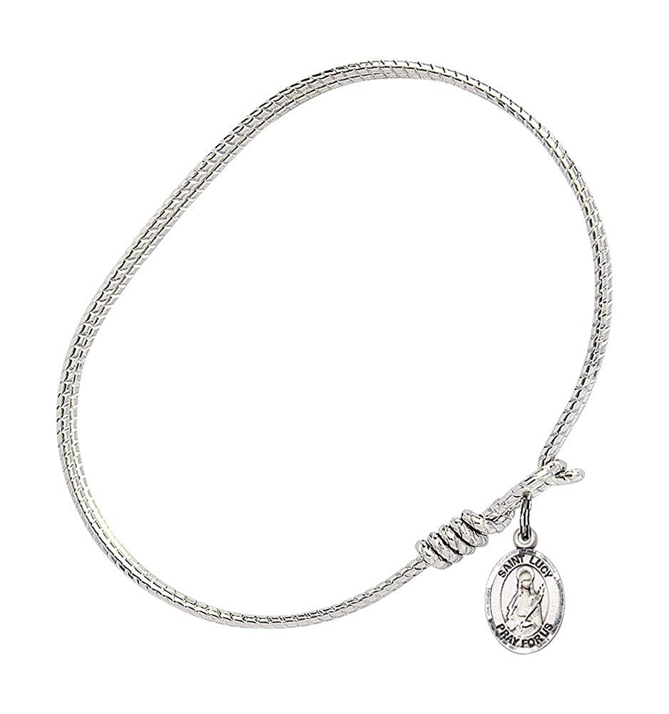 St Lucy Charm On A 6 1//4 Inch Oval Eye Hook Bangle Bracelet