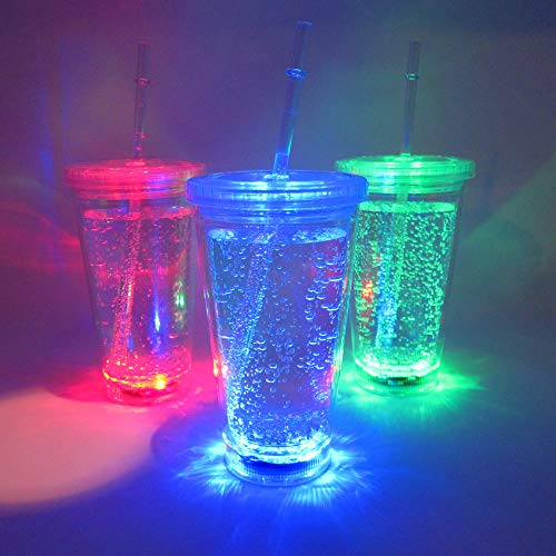 Light Up Travel Cups (Set of 6) - 14 oz Double Walled LED Glowing Travel Cup with 8 Color Modes -