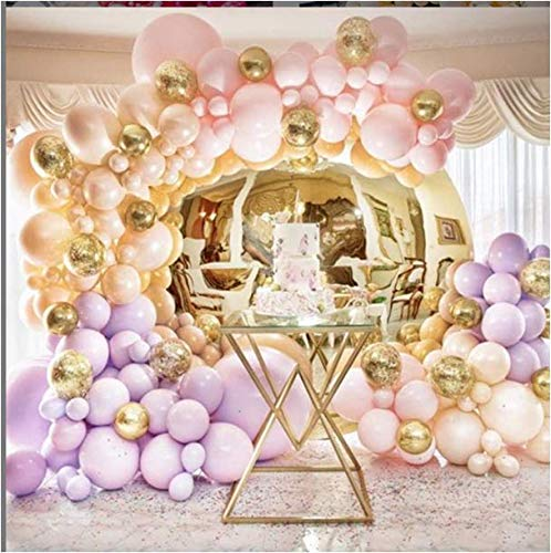 (PartyWoo Pink and Gold Balloons, 60 Pcs 12 Inch Light Pink Balloons Pink Balloons Light Purple Balloons Gold Metallic Balloons for Disney Princess Party Supplies, Pink and Gold Birthday)