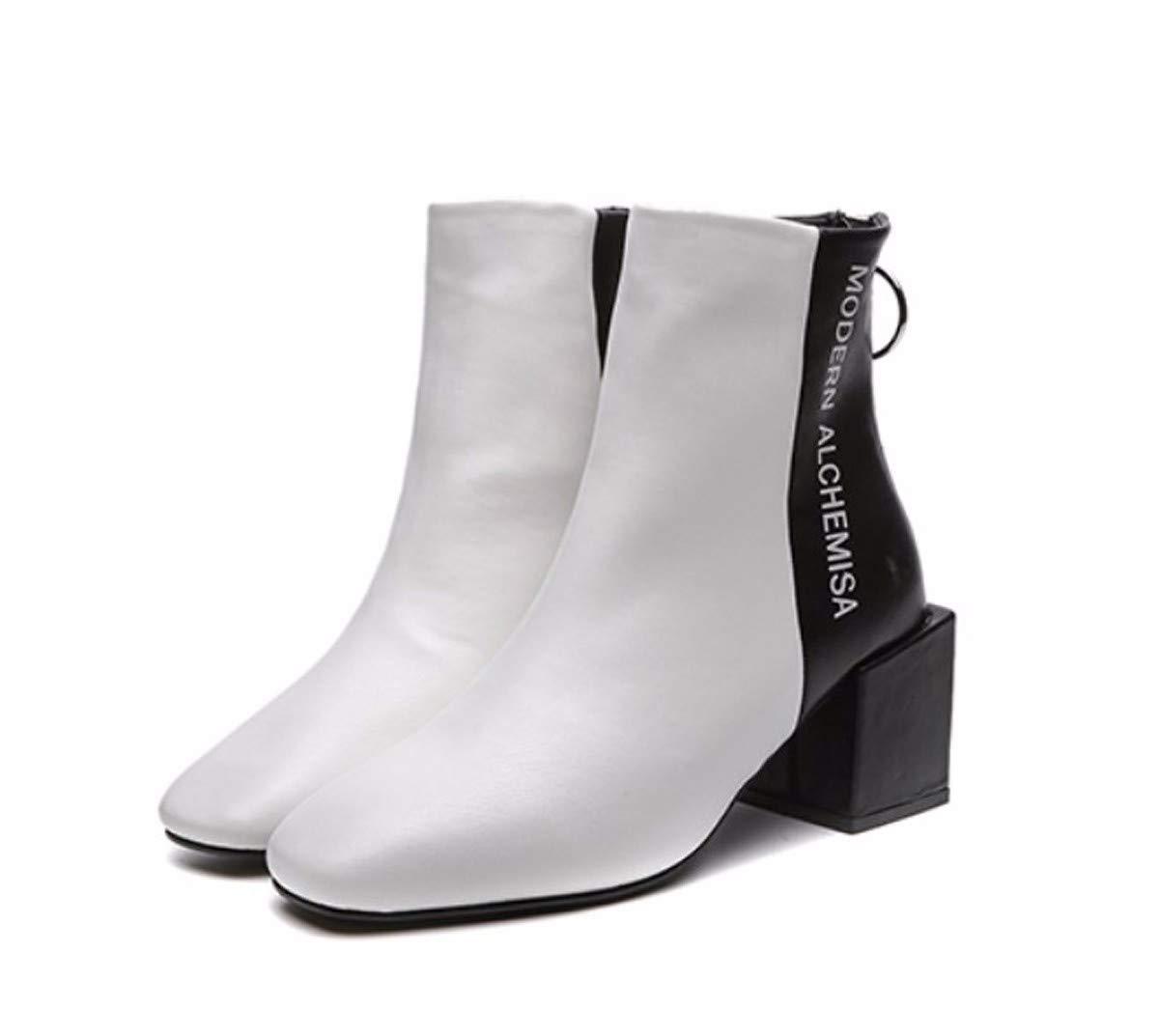 LBTSQ Fashion Damenschuhe Nahe Bei Martin Stiefel Heel 6 cm Schwarze Und Weiße Farbe Platz Ferse Samt Platz Kopf Dicke Sohle Zurück Auf Los
