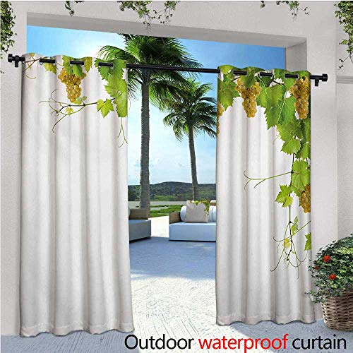 homehot Vineyard Patio Curtains Collage of Wine Leaves on Bunch Farming Natural Rural Tasty Food Berry Image Outdoor Curtain for Patio,Outdoor Patio Curtains W96 x L96 Green Yellow ()