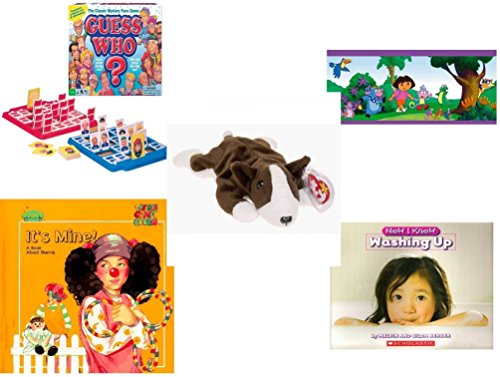 Game Explorer Dora Board The (Children's Gift Bundle - Ages 3-5 [5 Piece] - Guess Who? Board Game - Dora The Explorer Decorative Border - Ty Beanie Baby - Bruno the Dog - It's Mine. A Book About Sharing Hardcover Book - Now I K)