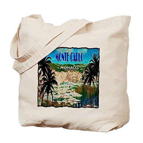 CafePress - Monte Carlow Monaco Illustration - Natural Canvas Tote Bag, Cloth Shopping - Shopping Monte Del
