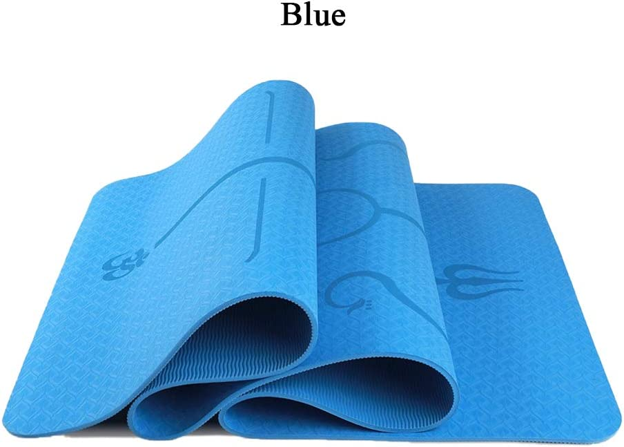 """Exercises 6mm ALING Yoga Mat with Body Alignment Line 72 L x 31.5 W Workout Mat Non Slip with Carrying Strap Exercise Mat for Pilates TPE Thick Yoga Mat for Women and Men 1//4/"""""""