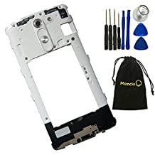 Mencia Back Housing Middle Bezel Frame Cover With Camera Glass Lens Home Button and Loudspeaker Loud speaker buzzer For White LG G3 Stylus D690 With Tools