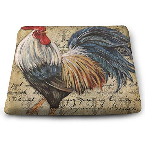 (Ding Vintage Rooster Art Removable Washable Anti-dust Memory Foam Seat Cushion Chair Pad Table Mat Thick Car Seat Cushion)