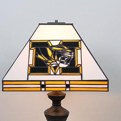 HDO 12-inch NCAA Missouri Tigers Stained Glass Square Table Lamp