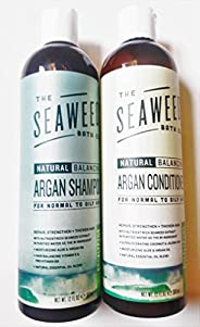 Seaweed Bath Co Balancing Eucalyptus Plant and Peppermint Organic Natural Shampoo and Conditioner Bundle With Argan Oil, Sus