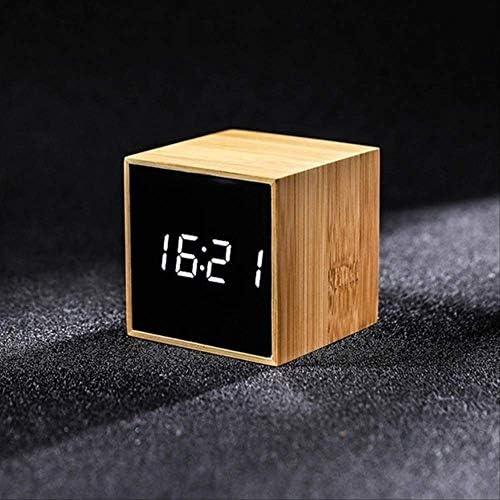 Led目覚まし時計温度湿度多機能デジタル木製スヌーズ時計音声制御リビングルーム装飾