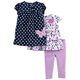 Simple Joys by Carter's Baby Girls' 3-Piece Playwear Set, Navy/Purple, 24 Months