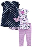 Simple Joys by Carter's Girls Baby 3-Piece Playwear Set, Navy/Purple, 18 Months