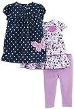 Simple Joys by Carter's Girls' 3-Piece Playwear Set, Navy/Purple, 18 Months