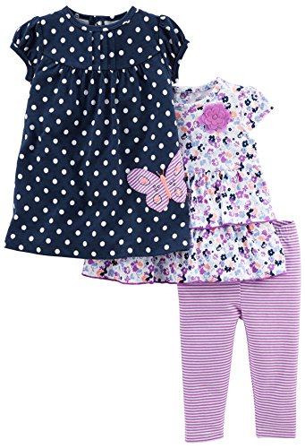 Simple Joys by Carter's Baby Girls' 3-Piece Playwear Set, Navy/Purple, 6-9 Months