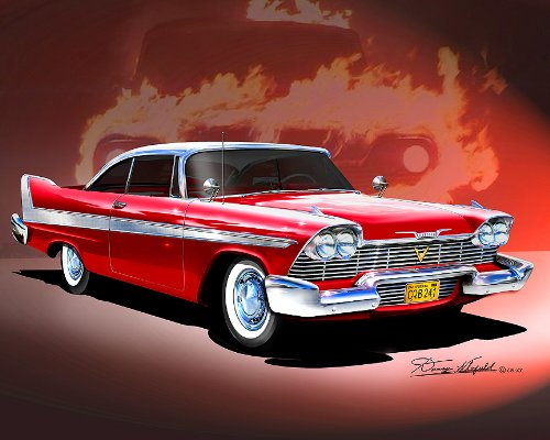 - 1958 PLYMOUTH FURY-CRISTINE-ROYAL RED CAR ART PRINT POSTER- SIZE 16 X 20