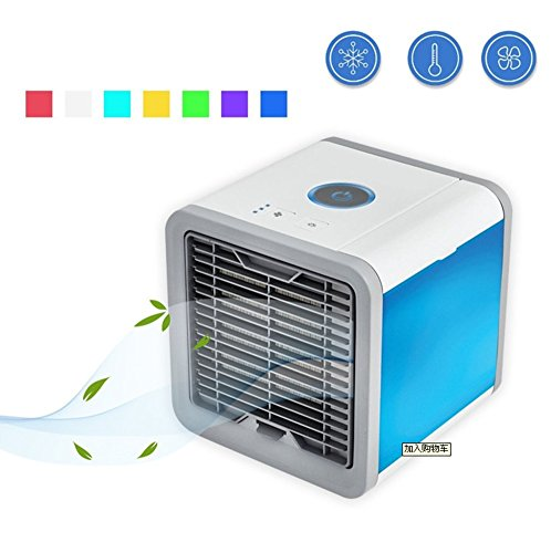 SL&LFJ Small desktop fan mini portable air cooler,Cooler single cold household small cooling fan water dispenser mini ice air-conditioning fan for office,Dorm,Nightstand-A 14.1x14.1x17.5cm(6x6x7inch)